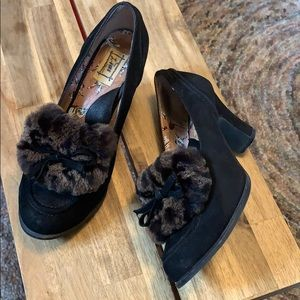 Miss L-Fire Rockabilly Suede and faux fur heels